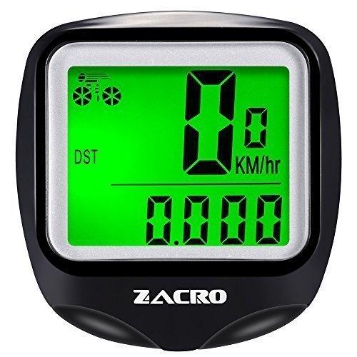 Zacro Fahrradcomputer, Kilometerzähler,Original multifunktionaler drahtloser Fahrradtacho,Tachometer, Inkl.1 Stück zusätzlicher Kompaß, Aktualisierte Version, Schwarz
