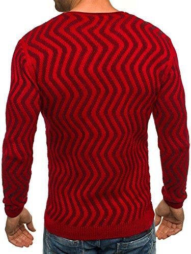 OZONEE Herren Strickjacke Pullover Strickpullover Sweats Strick BLACK ROCK 18030 Rot