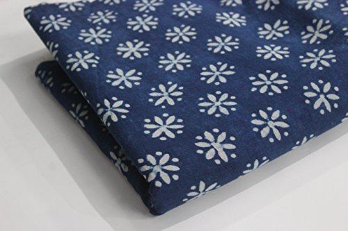 handicraftpinkcity-5-yard-dabu-blue-indigo-dye-hand-block-print-cotton-fabric-blue-print-fabric