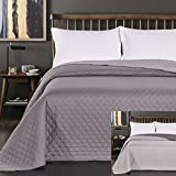 King / Super King 260 x 280 cm Reversible Bedspread Steel Grey Silver Quilted Ultrasonic Lightweight Microfibre Axel