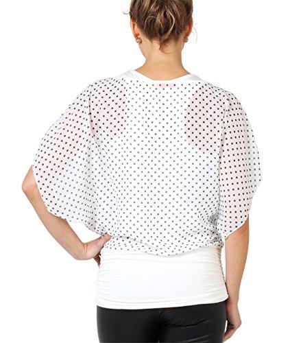 KRISP® Damen Gepunktete Kimono Chiffon Bluse Zweiteilig Weiß 7249