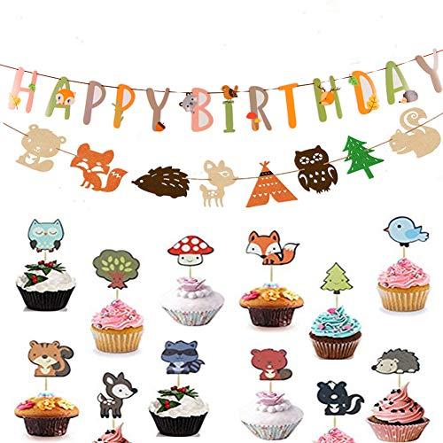 JeVenis Set von 14 Woodland Party Supplies Set Wald Tier Freunde unter dem Motto Banner Cupcake Topper Baby Shower Geburtstag Partydekorationen