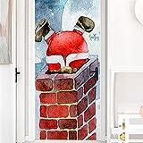 Arte della porta 3D, Adesivo per porte autoadesivo, Adesivo per porte Decorazioni natalizie Adesivo per porte Santa tetto camino simulazione porta in legno-90 cm * 200 cm