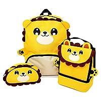 Zappi Co Childrens Boys Girls Animal School Nursery Backpack, Lunch Bag & Pencil Case Set - Lion