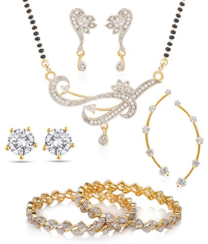 Jewels Galaxy White American Diamond Bangle Set, 1 Mangalsutra Set, 1 Earcuff & 1 Earring For Womencombo Of 4 (2.4)