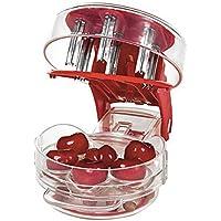 Removedor de semillas de cereza, multi-deshuesador de cerezas fácil de apretar con agarre 6 deshuesadores de cerezas, rojo.