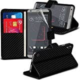 HTC Desire 650 Case Black Carbon Fibre PU Leather Wallet Phone Cases - Card Slots Screen Protector - Cleaning Cloth by Fonetic Solutions®