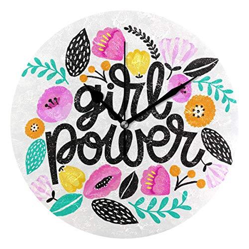 Relojes de Pared Redondos Power Girl Relojes Decorativos silenciosos sin tictac para Cocina, Sala de Estar, Dormitorio, baño, Oficina