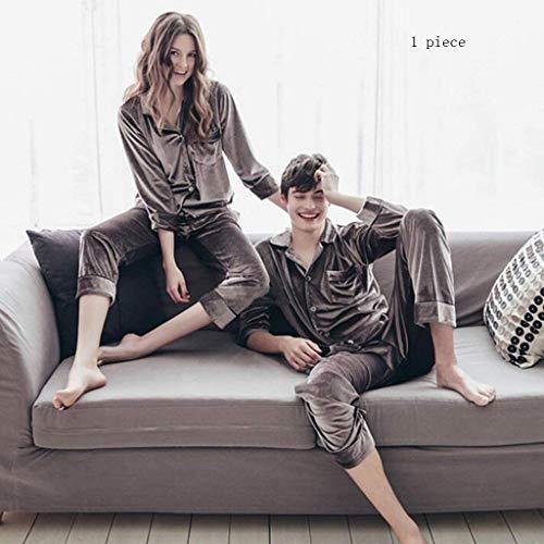 Pajamas Pyjama Suit , Coton avec Poches Peignoir , Femelle/Mâle Automne et Hiver Gris Polyester Fibre Lovers Peignoir À Manches Longues Épaissir Pyjamas , Tops avec Pantalon Deux Pièces (Manches Lo