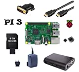 Raspberry Pi 3 Model B ( Made in UK ) Starter Bundle SLIM Design (3) schwarzes Gehäuse / 2,5 A Netzteil / 8GB Speicherkarte / HDMI Kabel mit Ethernet / DVI Adapter / 2er Set Kühlkörper