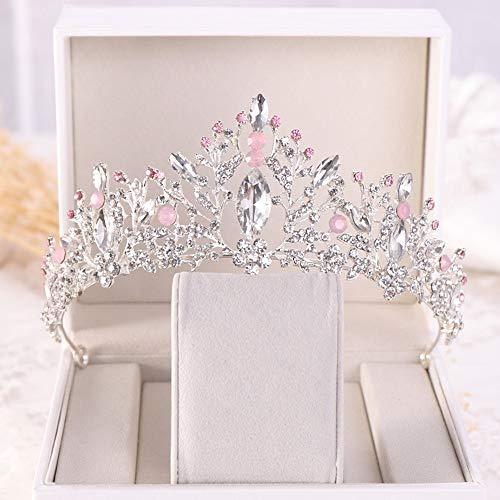 ochzeit Tiara Rose Gold Braut Krone Jeweled Kopfschmuck für Frauen und Mädchen (Color : Silver, Size : Free Size) ()