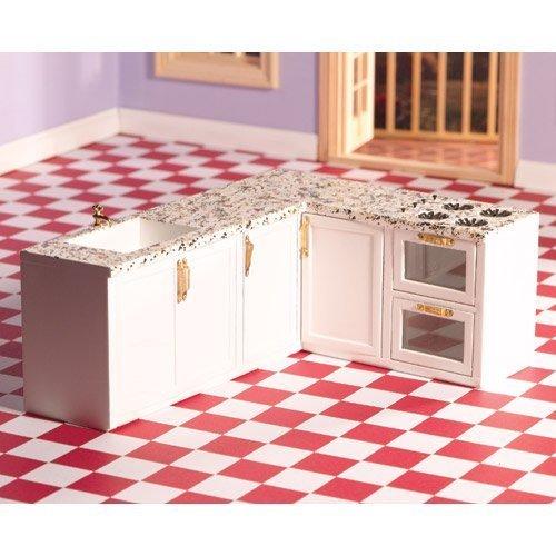 Dolls House 4426 Cucina incasso Forma a L bianco legno 1:12 per casa delle bambole