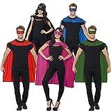 Mantello da supereroe & maschera Costume da supereroe rosso - Cappa e mascherina occhi Superman Travestimento da paladino per adulti Vestito di carnevale superhero Outfit mantella eroe fumetto