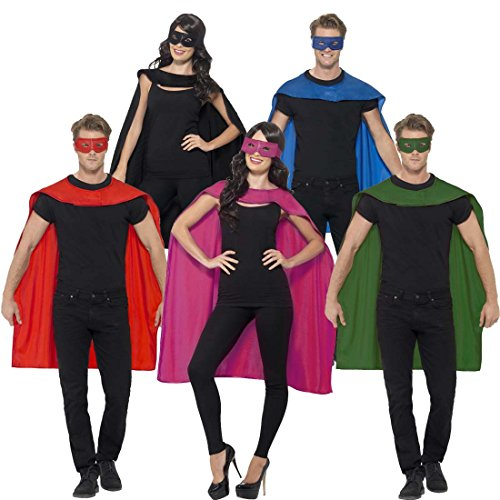 Superheldenumhang & Maske Superheld Kostüm schwarz Superman Umhang und Augenmaske Helden Kostüm Erwachsene Superhero Karnevalskostüm Superhelden Cape Outfit