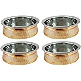 AVS STORE® Serving Bowl, Serving Dishes Set Copper And Steel Handi, Tureen Set Without Lid Set Of 4 (6 IN)