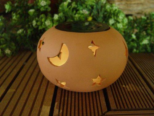 Wunderschöne Terracota LED Solar Windlicht Mond & Sterne Dekoration Beleuchtung