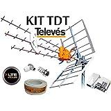 KIT TDT TELEVES PREPARADO PARA LA LTE 4G . ANTENA 149902+ALIMENTADOR 5795 2 SALIDAS + CABLE ANTENA 20 MT + CONECTORES
