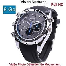 Montre Caméra Cachée Espion 8Go Full HD 1920x1080 détecteur de mouvement Vision Nocturne Modèle Biz DW36M8