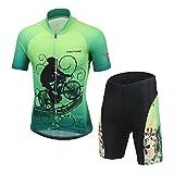 YFCH Abbigliamento Ciclismo da Bambino Maglia da Bicicletta e Pantaloncini con Imbottitura, Fantasia Bicicletta, 2XL/Consiglia l'altezza:139-149cm