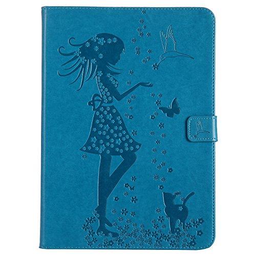 Cozy Hut iPad Air 2 Hülle,iPad 6 Hülle Case, iPad Air 2 (iPad 6 6th Generation) Leder Tasche Design Katzen und Mädchen, Ultra Slim Fit iPad Air 2 (iPad 6 6th Generation) 9.7 Zoll Schutzhüll
