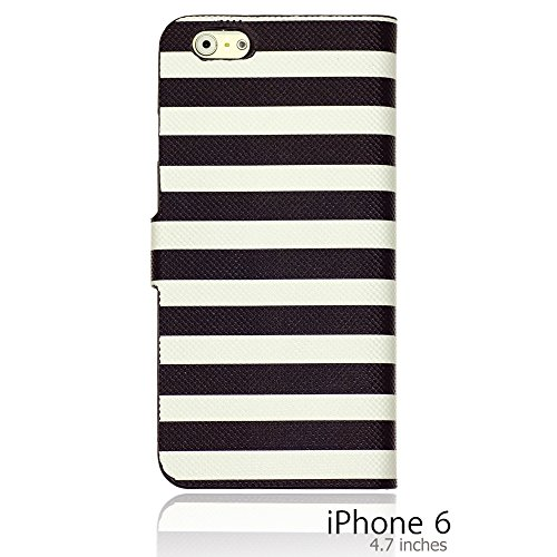 OnlineBestDigital - Striped Style PU Leather Wallet Flip Stand Case / Housse pour Apple iPhone 6 (4.7 inch)Smartphone - Rouge avec 3 Film de Protection Noir