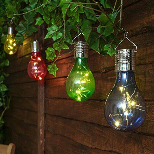 Neue Solar Lichter ,Bovake Wasserdichte Solar drehbare Outdoor Garten Camping Hanging LED Licht Lampe Birne (Hot Pink)