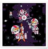 """JUNIQE® Poster 20x20cm Astronomie & Weltraum Kinderzimmer & Kunst für Kinder - Design """"Space Rock"""" (Format: Quadrat) - Bilder, Kunstdrucke & Prints von unabhängigen Künstlern entworfen von Chobopop"""