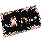 AMDXD Flanell Teppich Frohes Neues Jahr Design Teppiche für Schlafzimmer Wohnzimmer Bunt 45x70CM