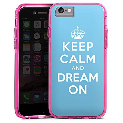 Apple iPhone 6s Plus Bumper Hülle Bumper Case Glitzer Hülle Keep Calm and Dream On Phrases Sayings Bumper Case transparent pink