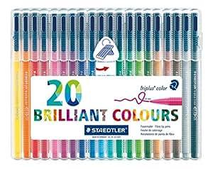 Staedtler triplus color Boîte de 20 feutres de coloriage Couleurs assorties Pointe 1,0 mm