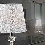 MIA Light Schirm Tisch Leuchte ↥365mm/ Klassisch/ Stoff/ Weiß/ Silber/ Kristall/ Textil/ Nacht Lampe Nachttischlampe Nachttischleuchte Schirmlampe Schirmleuchte Stofflampe Stoffleuchte Tischlampe Tischleuchte