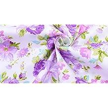 Ideal tela flores malvas NOVEDAD al corte por metros. 1 unidad es 0.50 m.