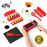 Kit para Hacer Sushi - Equipo para Hacer Sushi Edición de Lujo de AYA en Color Rojo Completo con Cuchillo de Sushi y Tutoriales en Video Online - Set de Sushi de 11 Piezas para hacer Sushi en casa - Fácil y divertido - Rollitos de Sushi - Rollitos de Maki.