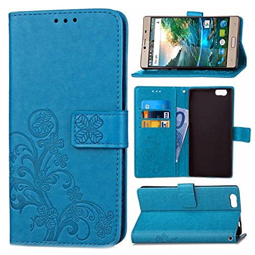 Guran® PU Ledertasche Case für Elephone M2 Smartphone Flip Cover Brieftasche und Stent Funktionen Hülle Glücksklee Muster Design Schutzhülle - Blau