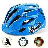 Shinmax Casco da Bici per Bambini con Luce a LED, Certificato CE, elmetto per Bambini Regolabile per Bambini e Ragazzi di 5-13 Anni