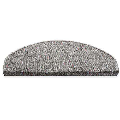 casa pura® Stufenmatten | Qualitätsprodukt aus Deutschland | kombinierbar mit Läufer | 65x23,5 cm | grau | halbrund, 15er Set