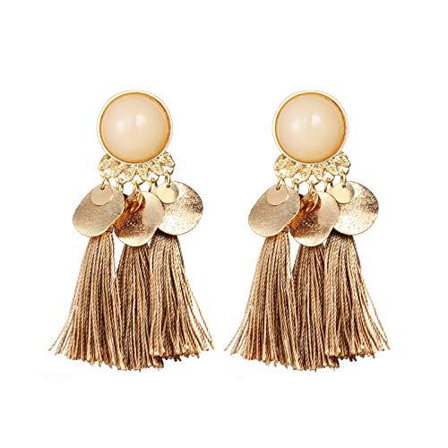 Schal Kragen Open Cardigan (YEARNLY Frauen Böhmische Mode Weben Quaste Ohrringe Lange Ohrringe Modeschmuck Vintage Classics ein paar wassertropfen)