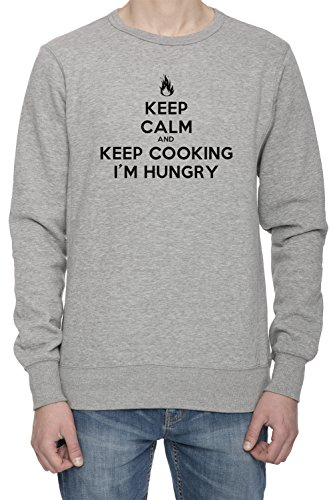 keep-calm-and-keep-cooking-im-hungry-uomo-grigio-felpa-saltatore-mens-grey-sweatshirt-jumper