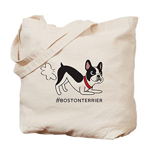Medium Boston Handtasche (CafePress Boston Terrier Fart-natürliche Canvas Tote Bag, Tuch, mit Tasche, canvas, khaki, M)
