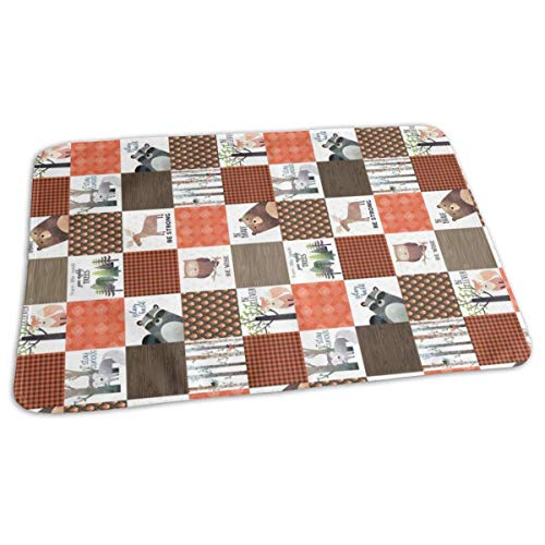 4.5 Blocks- Woodland Critters Patchwork Quilt ROTATED - Bear Moose Fox Raccoon Wolf, Brown U0026 Orange Design GingerLous Baby Portable Reusable Changing Pad Mat 19.7X 27.5 inch -