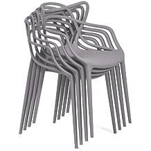Kartell - Kartell masters 4 x set conjunto de silla masters antimonopolio de 4 gris