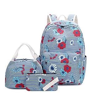 Joymoze Mochila Escolar Moderna con Bolsa Porta Alimentos térmica y Estuche para lápices, Conjunto de Mochila para niña Flor de Raya Azul
