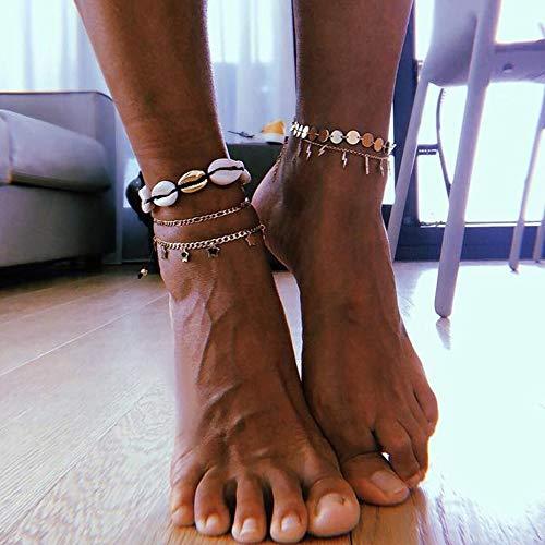 Homeofying Mode Frauen Schmuck Fuß Armband Dekor Boho Beach Shell Muster Seil Fußkettchen Boho Beach Berufung Urlaub Fußkettchen für Frauen 1#