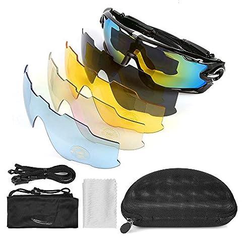 LeaningTech Vélo Lunettes de soleil polarisées lunettes de sport de plein air , Lunettes de soleil de sport d