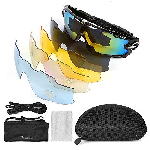 LeaningTech Fahrrad Brille Sonnenbrille Polarisiert Radbrille Sportbrille 5Wechselgläser Schutzbrille für Sport Radfahren Skifahren Fishing Angeln
