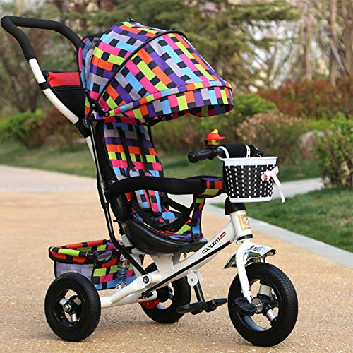 GSDZSY - Children Tricycle Stroller,4 In1 Foldable With Removable Push Handle Bar,Rubber Wheel,Adjustable Awning, 2-6 Years,Multi-colored  GSDZSY