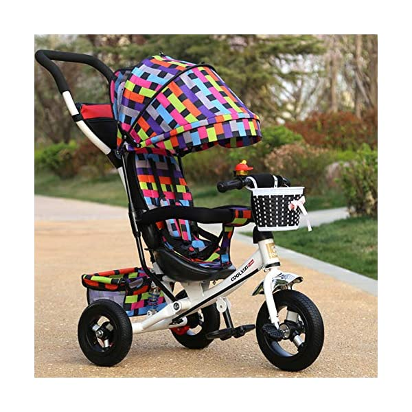 GSDZSY - Children Tricycle Stroller,4 In1 Foldable With Removable Push Handle Bar,Rubber Wheel,Adjustable Awning, 2-6 Years,Multi-colored GSDZSY  9