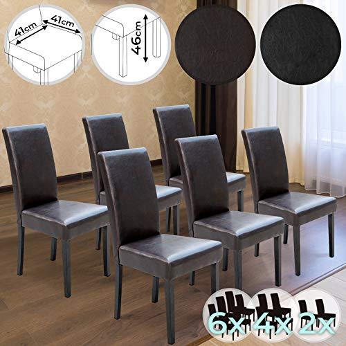 MIADOMODO Esszimmerstuhl - 2er 4er 6er Set, mit höher Rückelehne, Kunstleder, Beine aus Holz, Schwarz oder Braun - Polsterstuhl, Küchenstuhl, Wohnzimmerstuhl -
