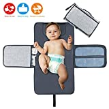 Idepet Portable Nappy Changing Mat,Waterproof Diaper Changing Pad with Head Cushion Pockets,Foldable Infant