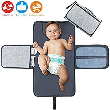 # A Bkkdd Foldable Travel Nappy Changing Mat,Best Travel Baby Diaper Changing pad Kit,Mesh and Zippered Pockets,Multi-Function Change Diaper Pad Insulation Pad